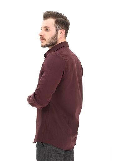 Modaplaza Erkek Basic Uzun Kol Slimfit Gömlek Bordo Bordo